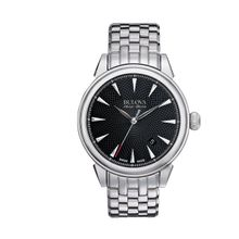 Bulova 63B174 Mens Black Dial Mechanical Watch with Stainless Steel Strap