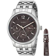 Guess U0508G1 Mens Brown Dial Analog Quartz Watch with Stainless Steel Strap