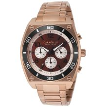 Caravelle 45A110 Mens Brown Dial Quartz Watch with Stainless Steel Strap
