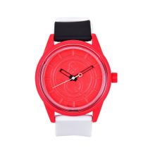 Tic Fashion UQ0076-45D Mens Red Dial Analog Quartz Watch with Plastic Strap