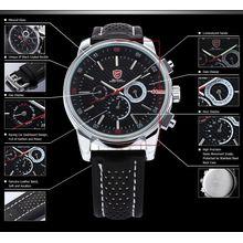 Shark SH092 Mens Black Dial Analog Quartz Watch with Leather Strap