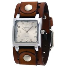 Nemesis BB516S Mens Silver Dial Analog Quartz Watch with Leather Strap