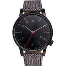 Komono KOM-W2100 Unisex Black Dial Analog Quartz Watch with Leather Strap