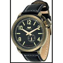 Men's Black Vestal Canteen Leather Strap Antique Watch CTN3L07