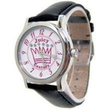 Juicy Couture 1900406 Womens White Dial Analog Quartz Watch with Leather Strap