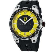 Ferrari FE-05-ACC-YW Mens Yellow Dial Dual Quartz Watch with Rubber Strap