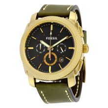 Fossil FS5064 Mens Black Dial Analog Quartz Watch with Leather Strap