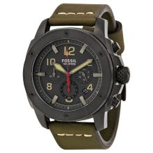 Fossil FS5000 Mens Grey Dial Analog Quartz Watch with Leather Strap