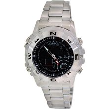 Casio AMW705D-1AV Mens Black Dial Dual Quartz Stainless Steel Strap Watch