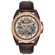 Bulova 98A165 Mens Mechanical Hand Wind Stainless Steel and Leather Brown Watch
