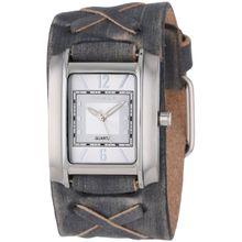 Nemesis FXB013S Mens White Dial Analog Quartz Watch with Leather Strap
