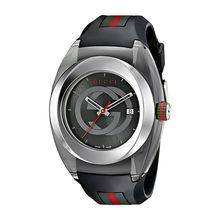 SYNC XXL YA137101 Stainless Steel Watch with Black Rubber Bracelet