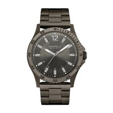 Caravelle 45A138 Mens Swarovski Crystal Black Dial Black Stainless Steel Case Black Bracelet Round Watch