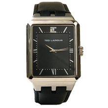 Ted Lapidus Modern Roman Numerals Black Dial Square 5118601 Mens Watch