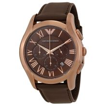 Emporio Armani AR1701 Mens Brown Dial Analog Quartz Watch with Leather Strap