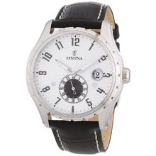 Festina F16486/1 Mens Silver Dial Analog Quartz Watch with Leather Strap