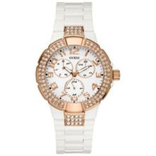 Guess U13608L1 Womens White Dial Quartz Watch with Plastic Strap