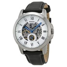 Fossil ME3053 Mens Silver Dial Analog Automatic Leather Strap Watch