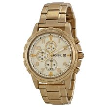 Fossil FS4867 Mens Champagne Dial Analog Quartz Stainless Steel Watch