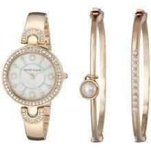 Anne Klein AK/1960GBST Womens Mop Dial with Gold Metal Analog Quartz Watch
