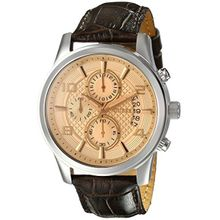 Guess U0076G3 Mens Brown Dial Quartz Watch with Leather Strap