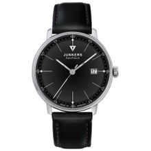 Junkers 60702 Mens Black Dial Analog Quartz Watch with Leather Strap