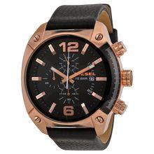 Diesel DZ4297 Mens Black Dial Analog Quartz Watch with Leather Strap