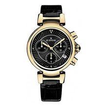 Edox 10220 37RC NIR Womens Black Dial Analog Quartz Watch with Leather Strap