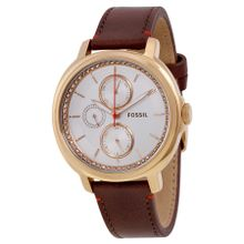 Fossil ES3594 Chelsey Womens White Dial Analog Quartz Leather Strap Watch
