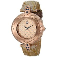 Brillier 30-02 Womens Rose Gold Dial Analog Quartz Watch with Leather Strap