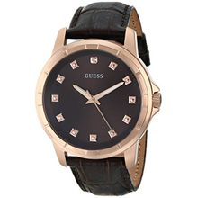 Guess U0519G1 Mens Brown Dial Quartz Watch with Leather Strap