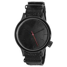 Komono KOM-W1951 Mens Black Dial Analog Quartz Watch with Leather Strap