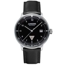 Junkers 60462 Mens Black Dial Analog Quartz Watch with Calfskin Strap
