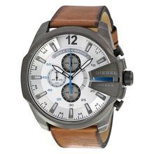 Diesel Mega Chief DZ4280 Mens White Dial Analog Quartz Watch with Leather Strap