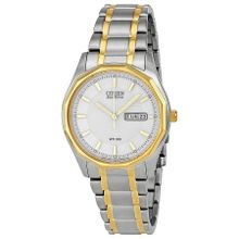 Citizen BM8434-58A Mens White Dial Analog Watch with Stainless Steel Strap