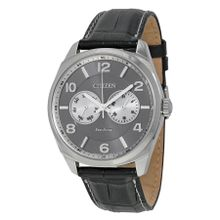 Citizen AO9020-17H Mens Grey Dial Analog Quartz Watch with Leather Strap