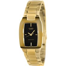 Casio LTP1165N-1C Womens Black Dial Analog Quartz Watch with Gold Strap