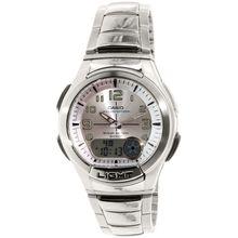 Casio AQ180WD-7BV Mens Silver Dial Dual Quartz Watch with Rubber Strap