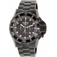 Precimax PX12202 Mens Black Dial Analog Quartz Watch with Stainless Steel Strap