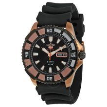 Seiko Seiko 5 SRP210 Mens Black Dial Analog Automatic Watch with Rubber Strap