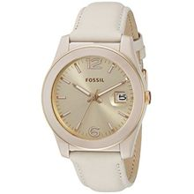 Fossil CE1089 Womens Beige Dial Analog Quartz Watch with Leather Strap