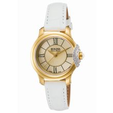 Accuswiss Bellecombe 65R163 Womens Gold Dial Watch with Leather Strap
