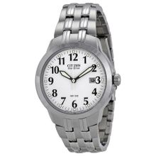 Citizen BM7090-51A Mens White Dial Analog Watch with Stainless Steel Strap