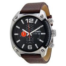 Diesel Advanced DZ4204 Mens Black Dial Analog Quartz Watch with Leather Strap