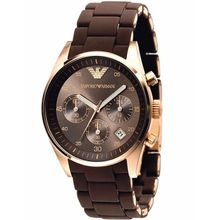 Armani AR5891 Unisex Brown Dial Quartz Watch with Stainless Steel Strap