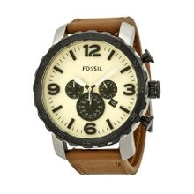 Fossil Nate JR1390 Mens Egg Shell Dial Analog Quartz Watch with Leather Strap