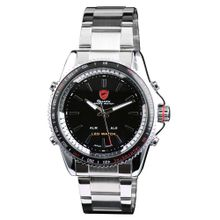 Shark SH003 Mens Black Dial Analog Quartz Watch with Stainless Steel Strap