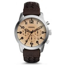 Fossil FS5178 Mens Stainless Steel Case Brown Leather Strap Round Analog Watch