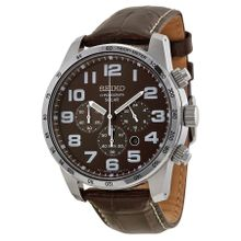 Seiko SSC227 Mens Brown Dial Analog Quartz Watch with Leather Strap
