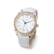 Swisstek SK21406L Womens White Dial Analog Quartz Watch with Leather Strap